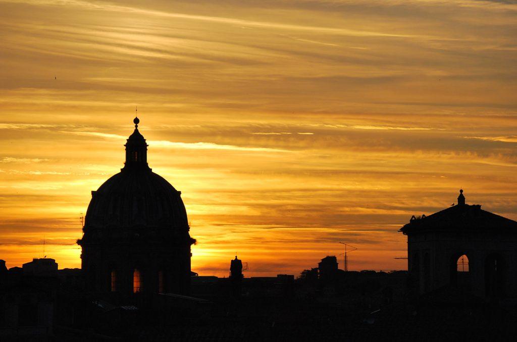 Sunset from Pincio Terrace/Villa Borghese hill- Roma