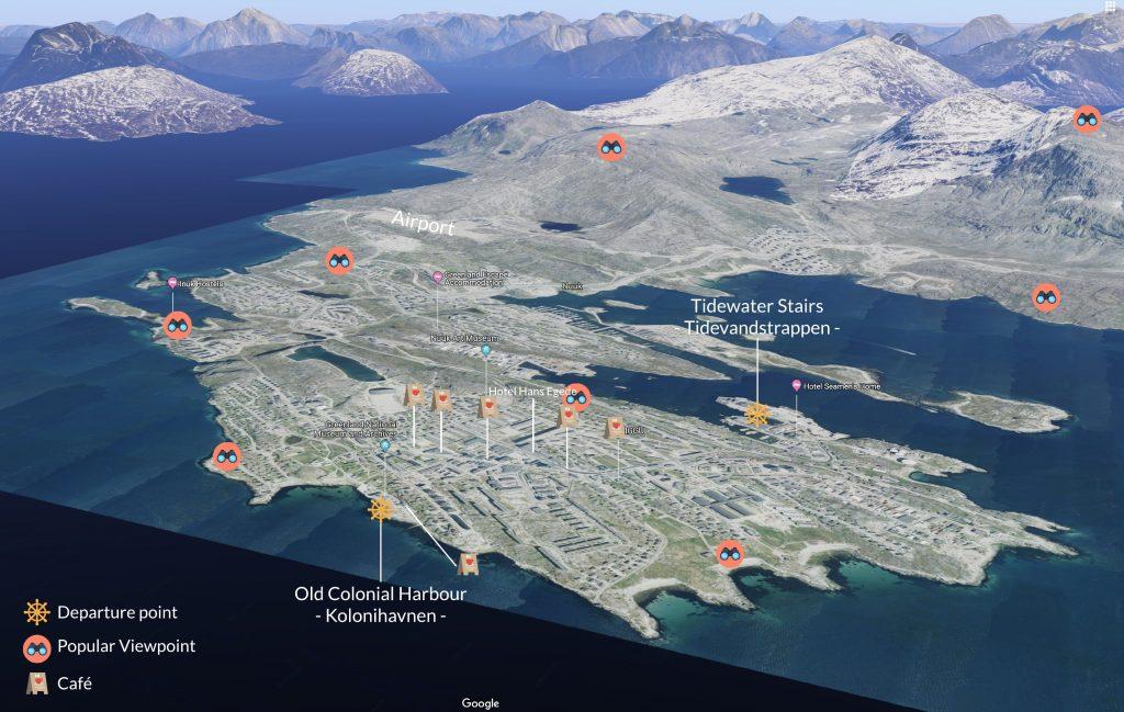 Nuuk_Groenlandia_Mappa dei luoghi d'interesse