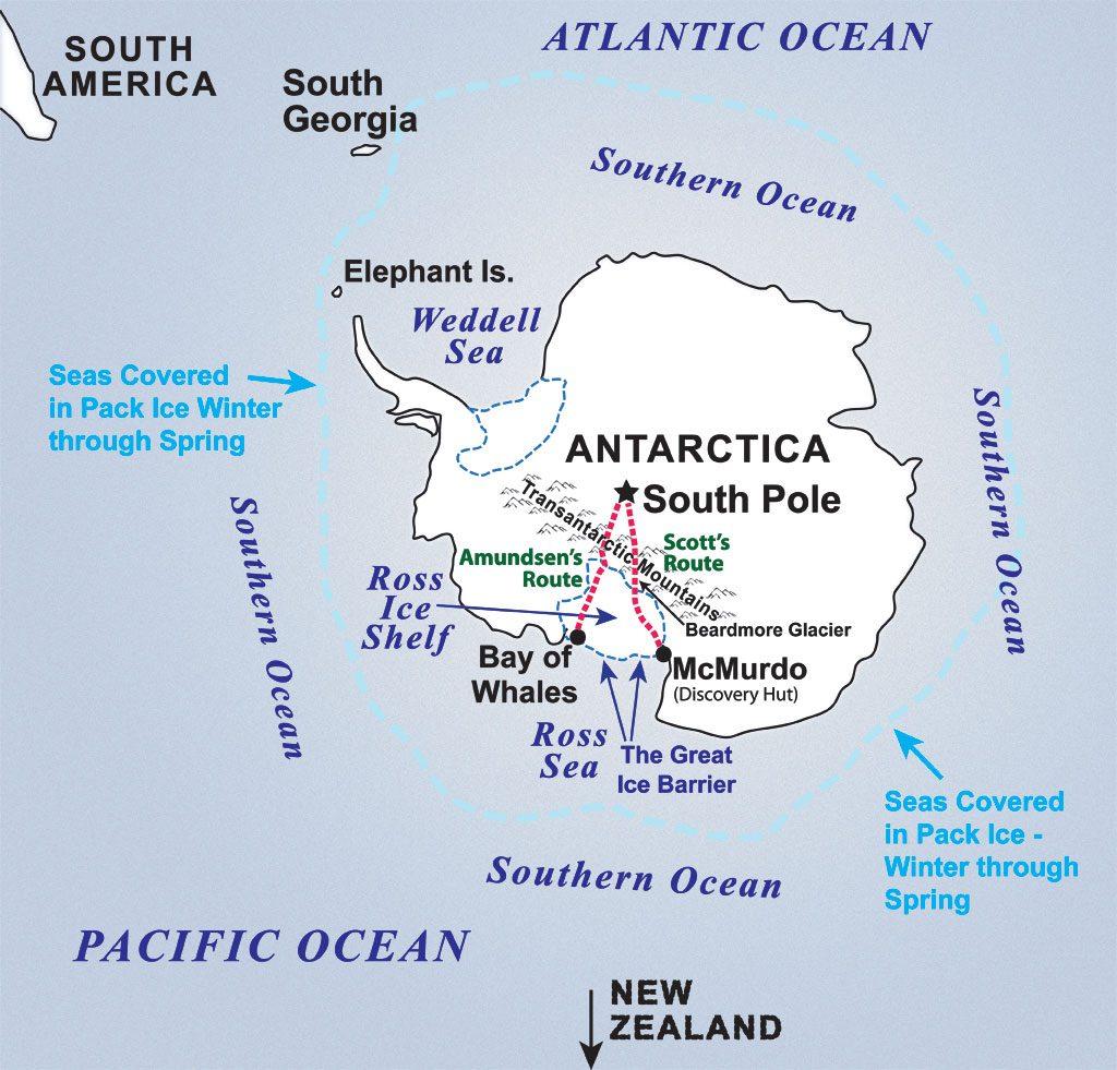 Mappe dell'Antartide_percorsi di Scott e Amundsen a confronto