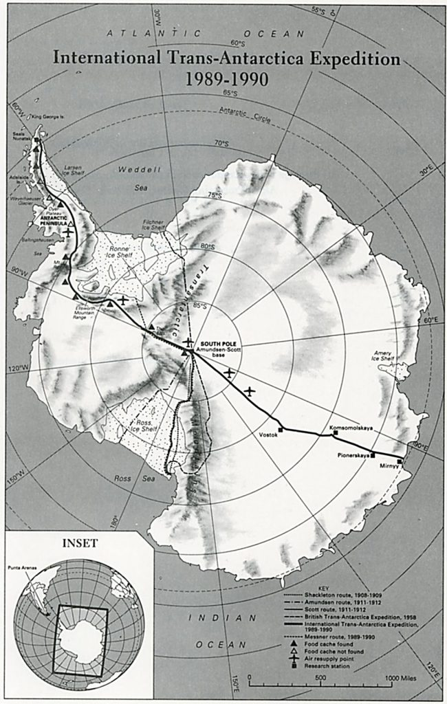 Mappa della International Trans-Antarctica Expedition (1989-1990)