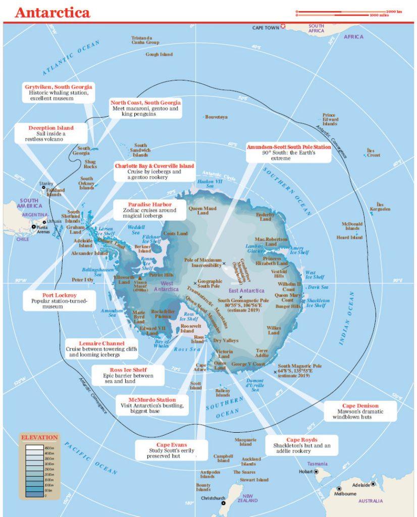Mappa dell'Antartide con punti di interesse