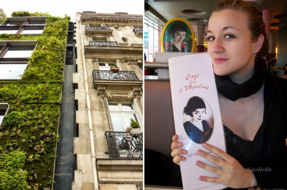 """Il giardino verticale di Patrick Blanc a sinistra ed io al """"caffè di Amelie"""" a destra"""