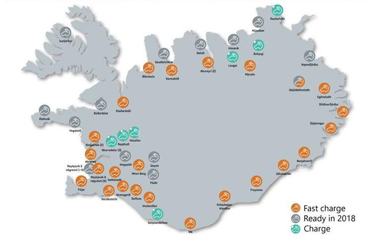 Mappa colonnine auto elettriche in Islanda - Carbon free driving in Iceland