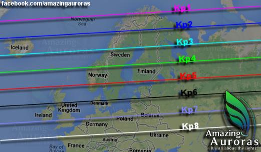 Mappa dell'aurora_in Islanda è visibile da KP2 nel Nord e da KP3 nel Sud