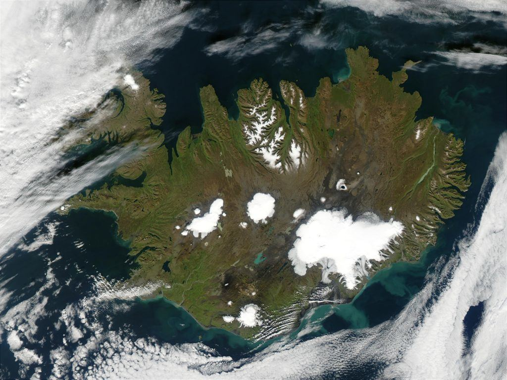 Mappa di Islanda -vista dal satellite